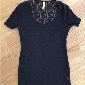 Black Lace Blouse With Flower Design